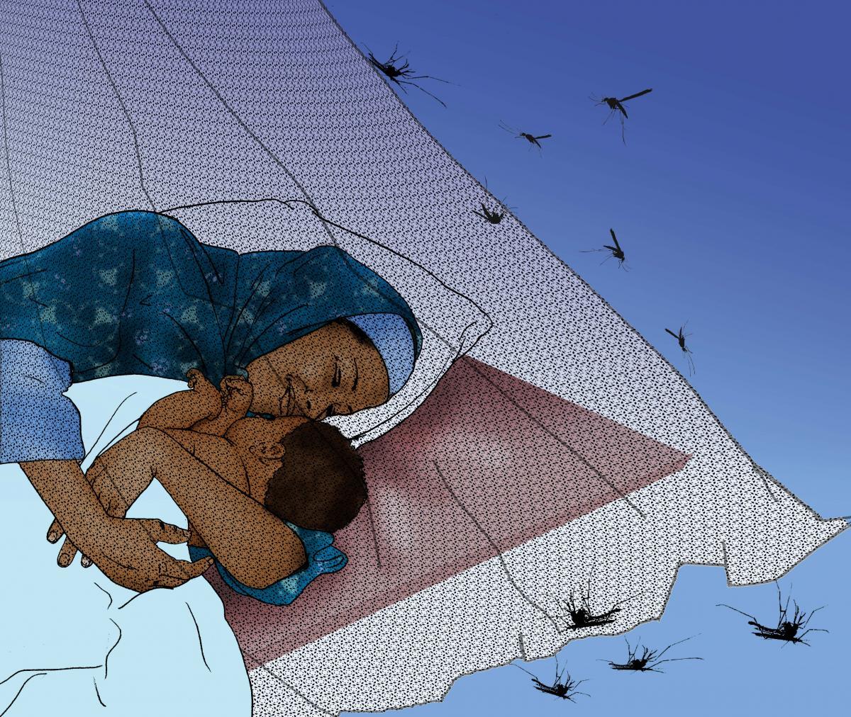 Malaria - Mother and child sleeping under net - 02 - Kenya Dadaab