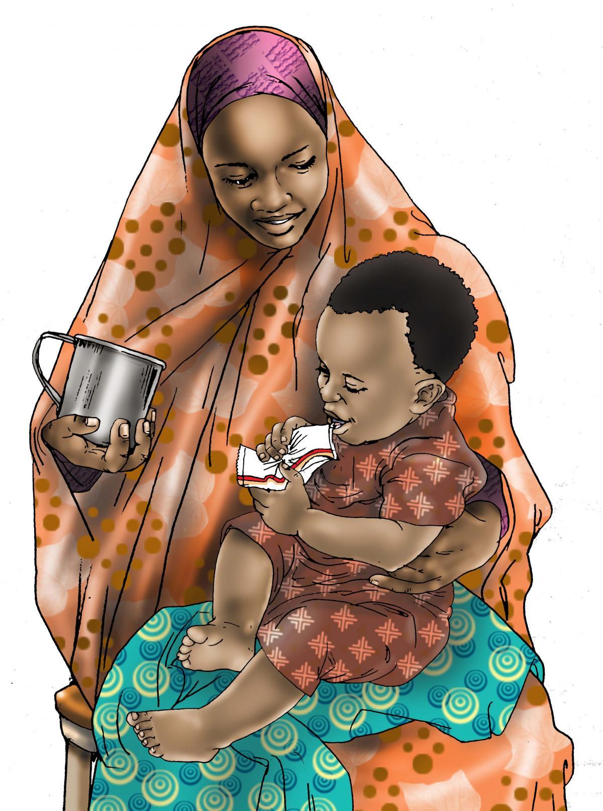 Complementary feeding - Mother feeding a child RUSF - 04 - Kenya Dadaab