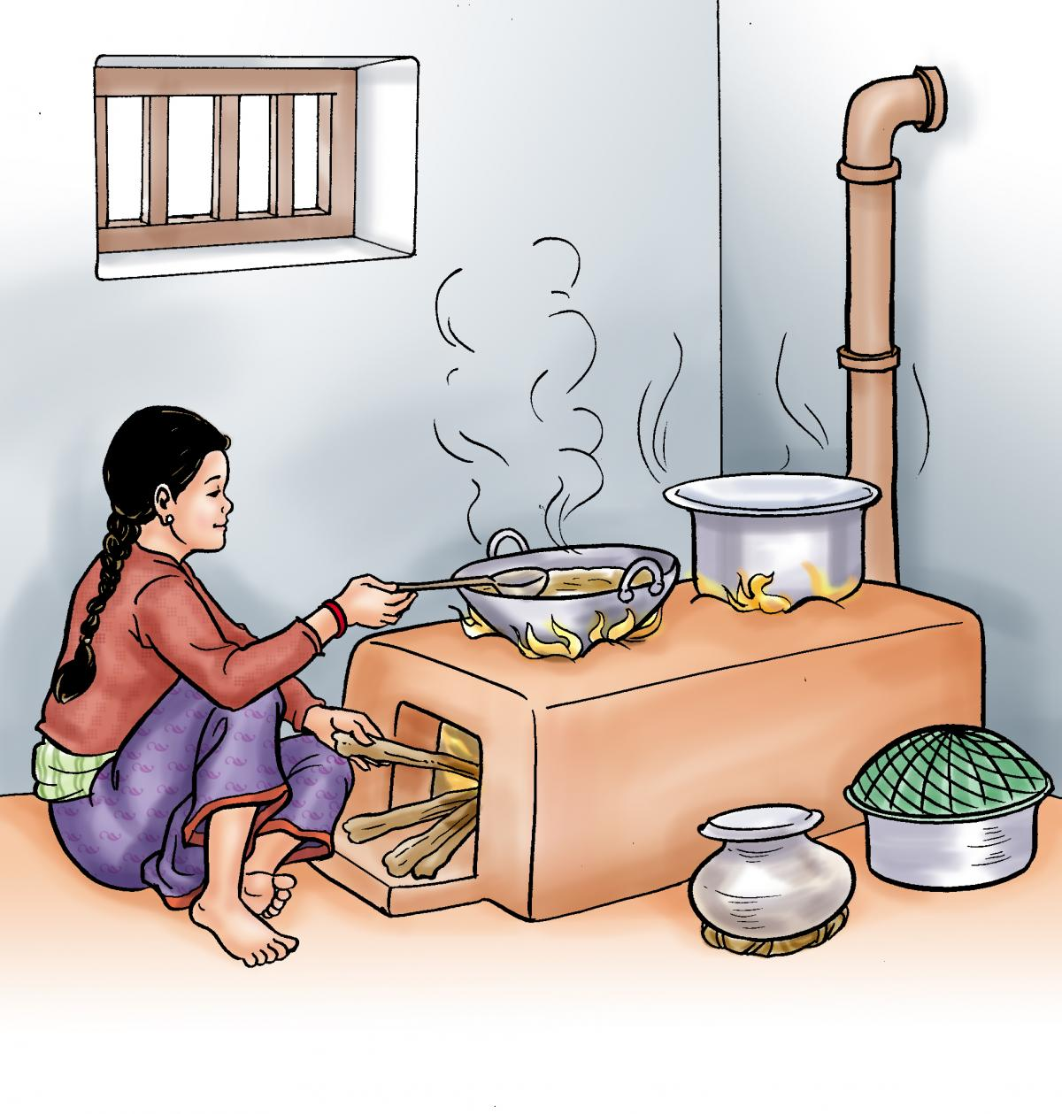 Food practices - Woman cooking a meal on a clay stove - 00 - Nepal