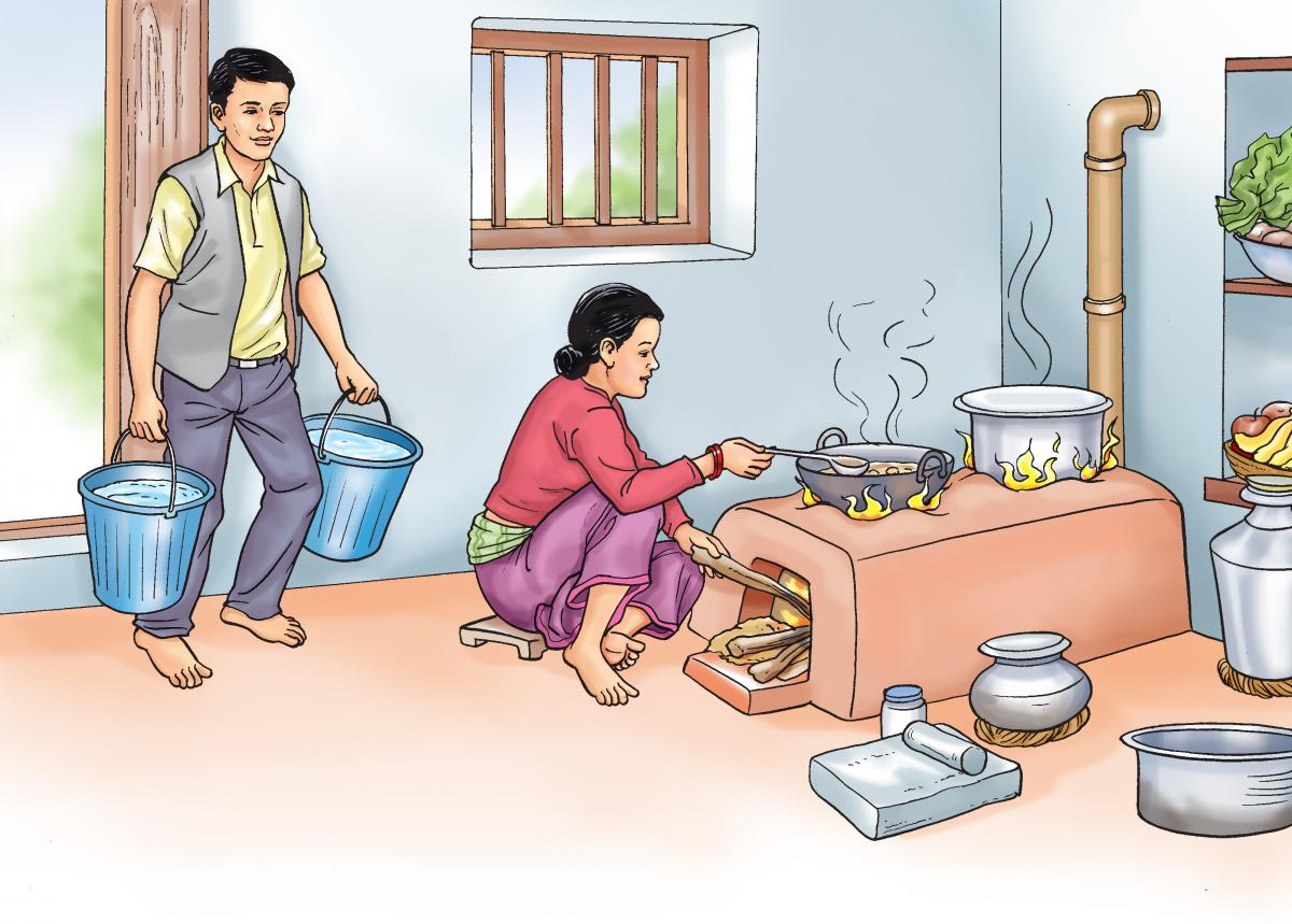 Food Practices - Man bringing in water while woman cooks - 01 - Nepal