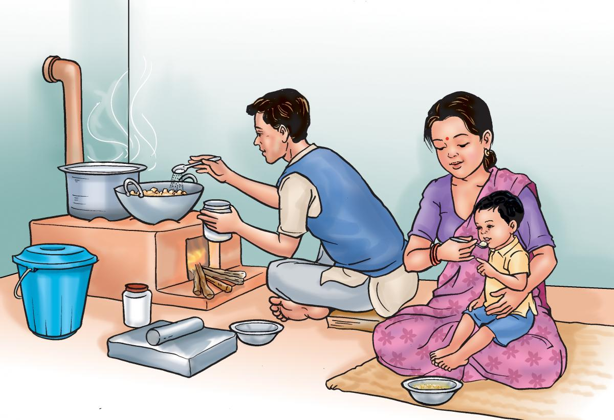 Complementary feeding - Father supports cooking while mother complementary feeds child - 02 - Nepal