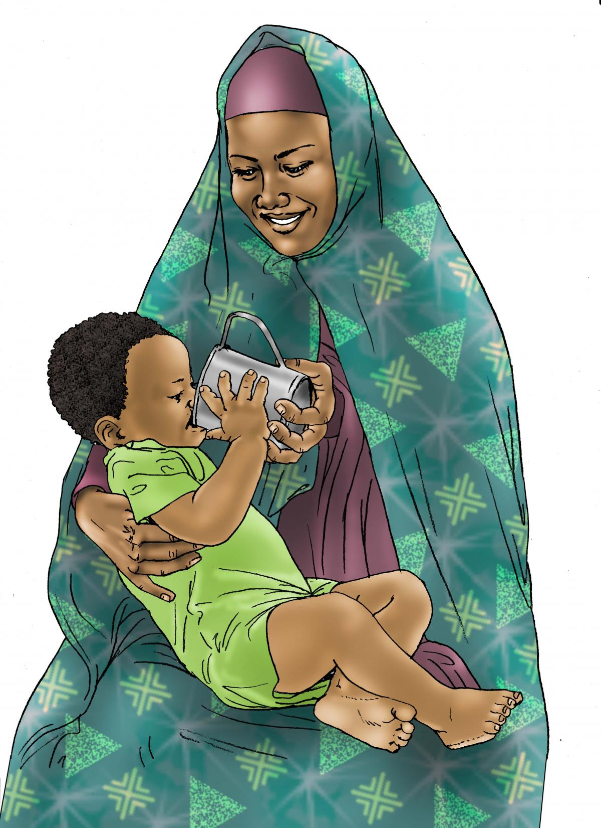 Sick baby health care - Mother giving child ORS - 02B - Kenya Dadaab