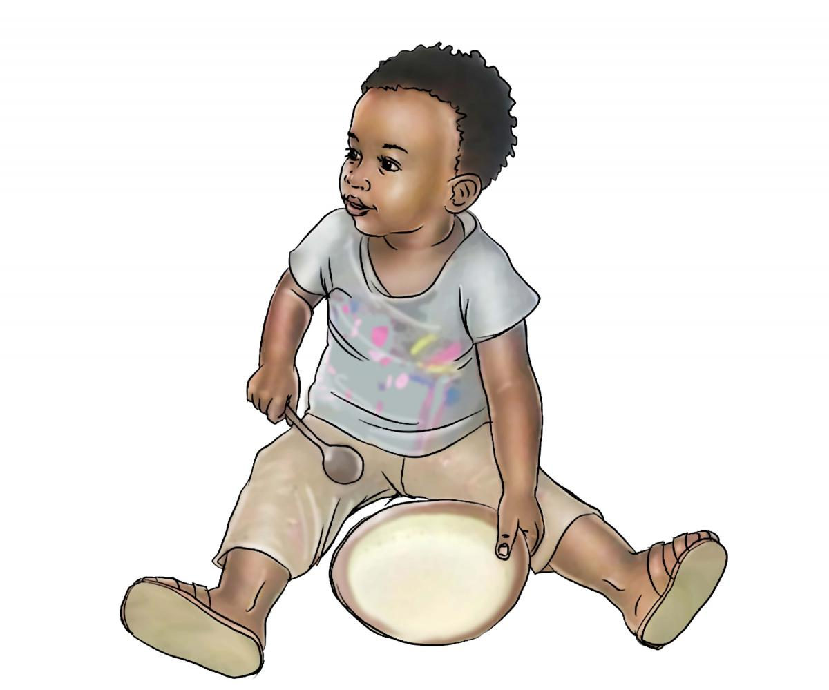 People - Healthy baby with plate - 00B - Sierra Leone