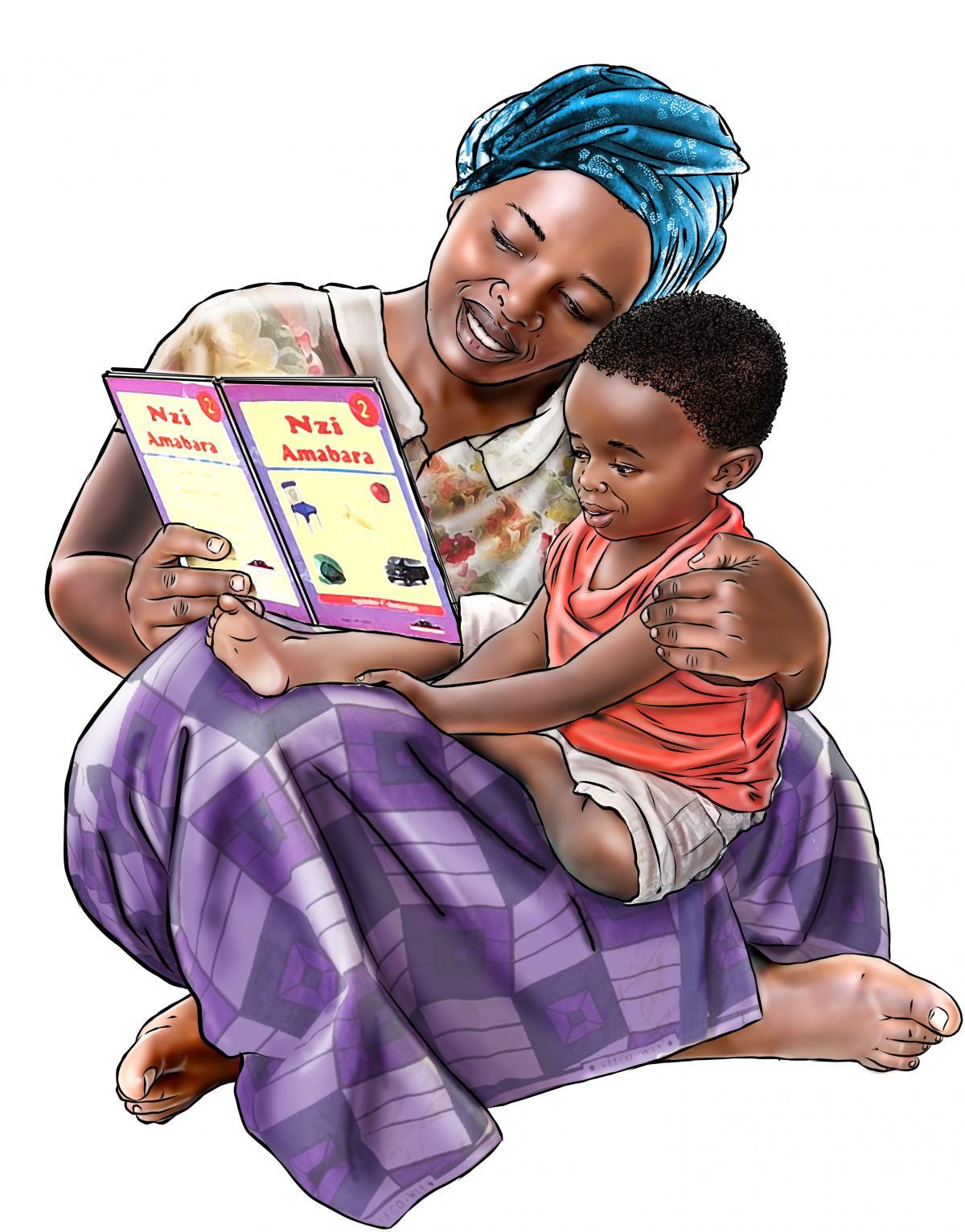 Early Communication - Mother reading with child - 01 - Rwanda