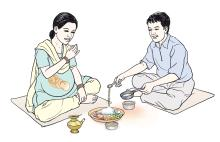 Maternal Nutrition - Pregnant woman eating a healthy meal - 01B - Nepal