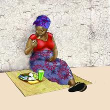 Maternal Nutrition - Pregnant woman eating healthy meal - 01 - Nigeria