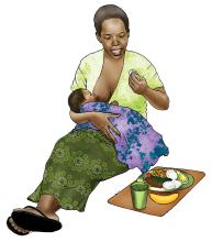 Maternal Nutrition - Breastfeeding mother eating healthy meal - 01 - Non-country specific