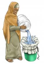 Sanitation - Woman filtering water - 03A - Kenya Dadaab