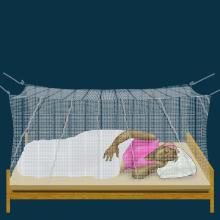 Malaria - Pregnant woman sleeping under mosquito net - 01 - Unknown