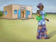 Sick Baby Health Care - Mother leaving clinic with healthy baby 0-24 mo - 05B - Niger