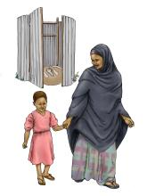 Sanitation - Mother and daughter leaving latrine - 03 - Kenya Dadaab