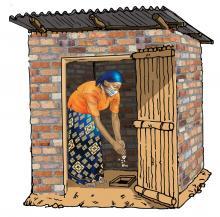 Hygiene - Disposing into latrine - 06 - COVID