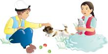 Hygiene - Children playing with animals  - 05 - Kyrgyz Republic