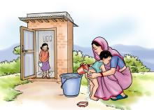 Hygiene - Washing the baby's bottom after using the latrine - 03 - Nepal