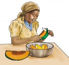 Complementary Feeding - Mother preparing vitamin a food - 01A - Sierra Leone
