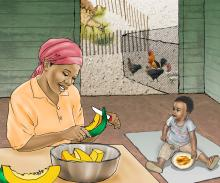 Family - Mother and child preparing food - 01B - Sierra Leone