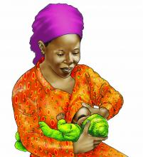 Breastfeeding - Breastfeeding positions - Cross Cradle 0-6 mo - 01 - Nigeria
