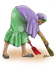 Sanitation - Woman sweeping - 02C - Nigeria