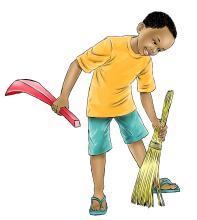 Sanitation - Boy sweeping - 03 - Nigeria
