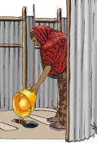 Sanitation - Woman cleaning toilet - 00B - Kenya Dadaab