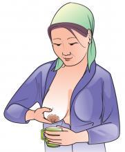 Cup Feeding - Mother expressing breastmilk for cup feeding 0-24mo - 02 - Kyrgyz Republic