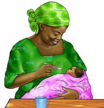 Cup Feeding - Grandmother cup feeding 6-9 mo - 05A - Nigeria