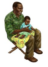 Father Support - Father taking care of child 6-9 mo - 02 - Nigeria