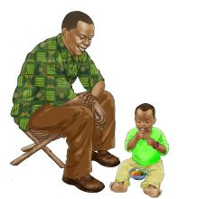Father Support - Father taking care of child 6-12 mo - 01A - Nigeria