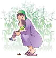Sanitation - Infant defecating in the open  - 04 - Kyrgyz Republic