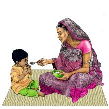 Complementary Feeding - Grandmother feeding child 6-12 mo - 02 - India