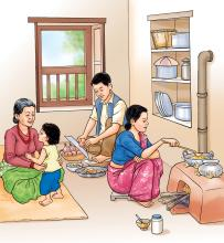 Food practices - Father, mother, and mother in law share household tasks - 03 - Nepal