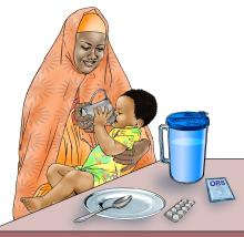 Sick baby health care - Mother giving child ORS - 02A - Kenya Dadaab