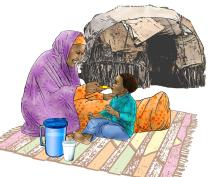 Sick baby health care - Mother feeding a child under ORS treatment - 03 - Kenya Dadaab