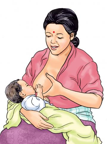Breastfeeding - Supporting breast to promote proper attachment - 01 - Nepal