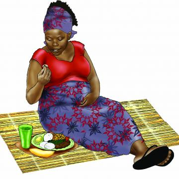 Maternal Nutrition - Pregnant woman eating healthy meal - 01 - Non-country specific