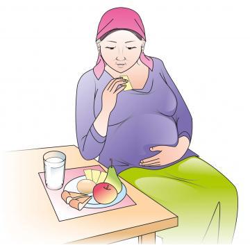Maternal Nutrition - Pregnant woman eating healthy meal - 01 - Kyrgyz Republic