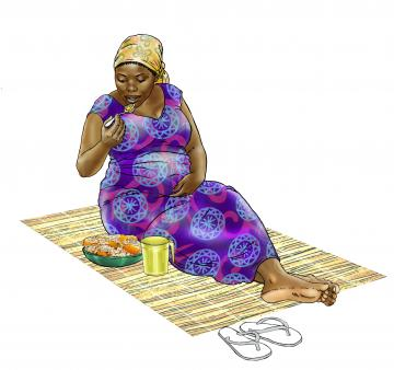 Maternal Nutrition - Pregnant woman eating healthy meal - 02 - Sierra Leone