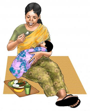 Maternal nutrition - Breastfeeding mother eating healthy meal - 06 - India