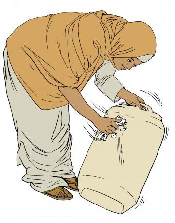 Sanitation - Woman washing water container - 01 - Kenya Dadaab