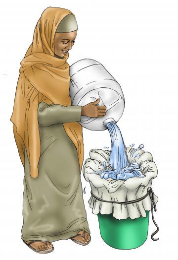Sanitation - Woman filtering water - 03A - Kenya Dadaab