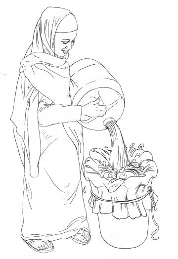 Sanitation - Woman filtering water - 03B - Kenya Dadaab