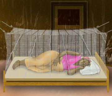 Malaria - Pregnant woman sleeping under mosquito net - 04 - Non-country specific