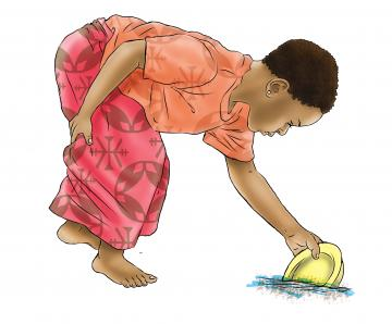 Sanitation - Young child washing dish - 00 - Nigeria