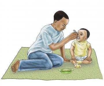 Complementary Feeding - Brother feeding infant 6-24 mo - 00A - Nigeria