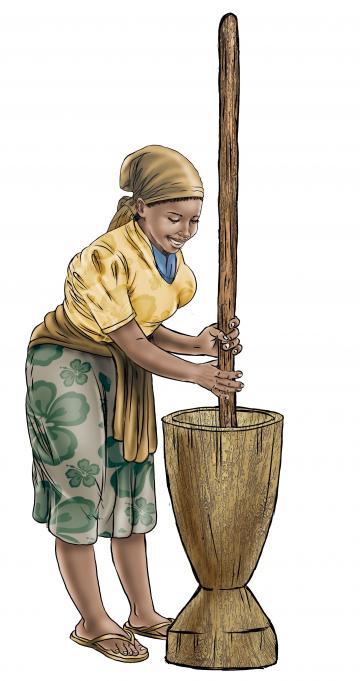 Food practices - Preparing smoked fish powder - 01A - Sierra Leone