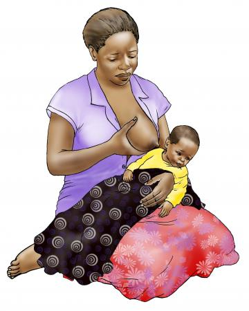Sick Baby Nutrition - Sick baby refuses to breastfeed - kneeling - 01B - Nigeria