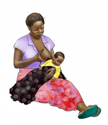 Sick Baby Nutrition - Sick baby refuses to breastfeed - sitting - 01B - Nigeria