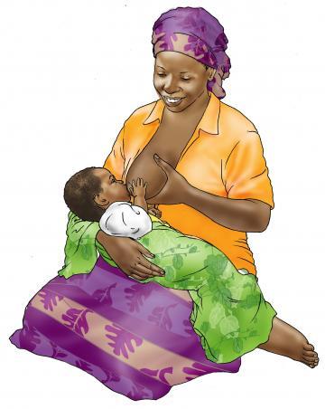 Sick baby nutrition - Mother breastfeeding sick baby - 02 - Nigeria