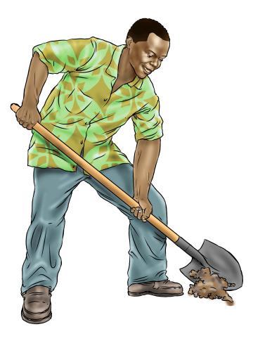 Hygiene - Shoveling gravel for tippy tap - 11 - Sierra Leone
