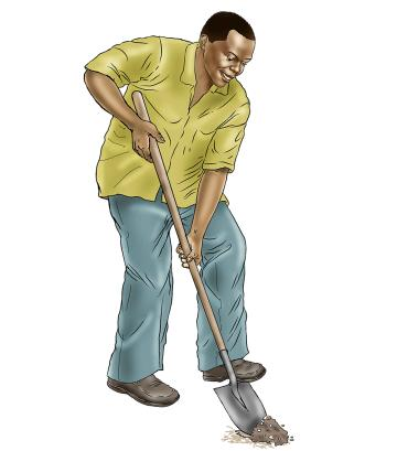 Father support - Father digging gravel - - Sierra Leone